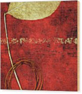 Golden Leaf On Bright Red Paper Wood Print