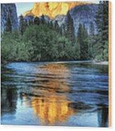 Golden Light On Half Dome Wood Print