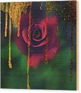 Golden Moments Of A Garden Rose Wood Print