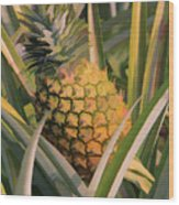 Golden Pineapple Wood Print