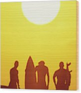 Golden Surf Silhouettes Wood Print