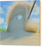 Golf Ball Being Driven Out Of A Sand Wood Print