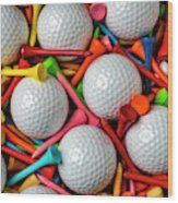 Golf Balls And Colorful Tees Wood Print