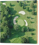 Golf Course Close Up From The Air Wood Print