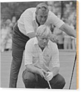 Golf Professionals Nicklaus And Palmer Wood Print