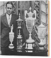 Golfer Bobby Jones With Golf Trophies Wood Print