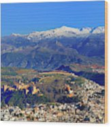 Granada, The Alhambra And Sierra Nevada From The Air Wood Print
