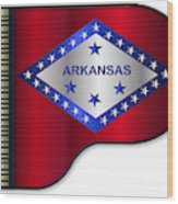 Grand Piano Arkansas Flag Wood Print