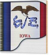 Grand Piano Iowa Flag Wood Print