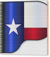 Grand Piano Texas Flag Wood Print
