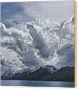 Grand Teton Mountains And Clouds Wood Print