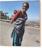 Grandchild And Grandmother Shimla Himachal Pradesh Wood Print