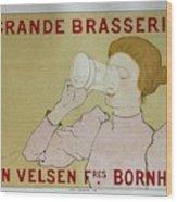 Grande Brasserie, 1894 Belgian Vintage Brewery Poster Wood Print