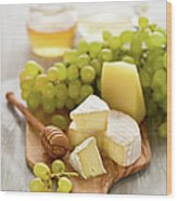 Grape, Honey And Cheese Wood Print