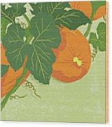 Graphic Illustration Of Pumpkins Wood Print