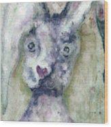 Gray Bunny Love Wood Print