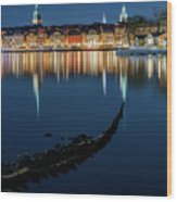 Gray Wolf Shipwreck And Stockholm Gamla Stan Fantastic Reflection In The Baltic Sea  Wood Print