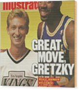 Great Move, Gretzky Magic Johnson Welcomes Wayne Gretzky To Sports Illustrated Cover Wood Print
