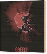 Greece Radiant Map 3 Wood Print