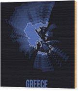 Greece Radiant Map II Wood Print