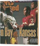 Green Bay Packers And Kansas City Chiefs, 1996 Nfl Football Sports Illustrated Cover Wood Print