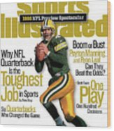 Green Bay Packers Qb Brett Favre, 1998 Nfl Football Preview Sports Illustrated Cover Wood Print