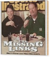 Green Bay Packers Qb Brett Favre And Coach Mike Holmgren Sports Illustrated Cover Wood Print