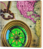 Green Compass And Old Key Wood Print