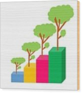Green Economy Investment Concept Wood Print