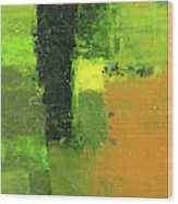 Green Envy Abstract Painting Wood Print