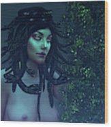 Green Eyed Medusa Wood Print