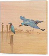 Green Heron Sunrise Wood Print
