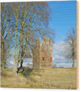Greenknowe Tower In Late Winter Sun Scottish Borders Wood Print