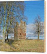 Greenknowe Tower In Winter Sun, Scottish Borders Wood Print