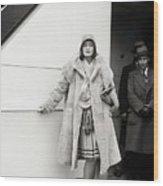 Greta Garbo Sailing On Ship Wood Print