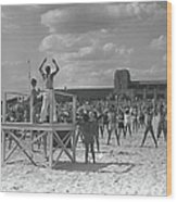 Group Of People Exercising On Beach, B&w Wood Print