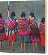 Group Of Peruvian Woman In Colorful Wood Print