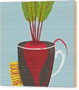 Growing Beetroot With Green Leafy Top Wood Print