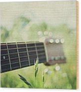 Guitar In Country Meadow Wood Print