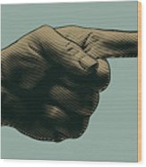 Halftone Pointing Finger. Engraved Wood Print