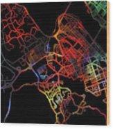 Halifax Nova Scotia Canada Watercolor City Street Map Dark Mode Wood Print