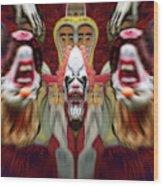 Halloween Scary Clown Heads Mirrored Wood Print