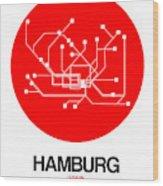 Hamburg Red Subway Map Wood Print
