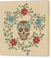 Hand Drawn Day Of The Dead Colorful Wood Print