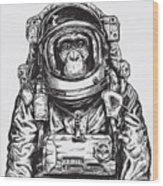Hand Drawn Monkey Astronaut Vector Wood Print