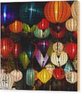 Handcrafted Lanterns In Ancient Town Wood Print