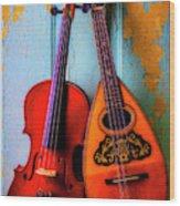 Hanging Violin And Mandolin Wood Print