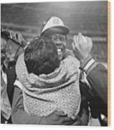 Hank Aaron Hugging His Mother Wood Print