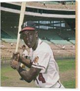 Hank Aaron Of The Milwaukee Braves Wood Print