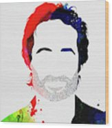 Hank Moody Watercolor Wood Print
